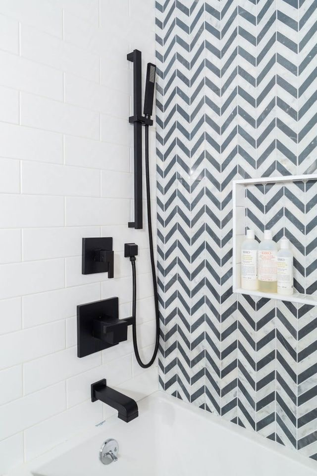 MATTE BLACK - Update a shower simply by changing out the old hardware fixtures to a more sleek, modern, matte black style.