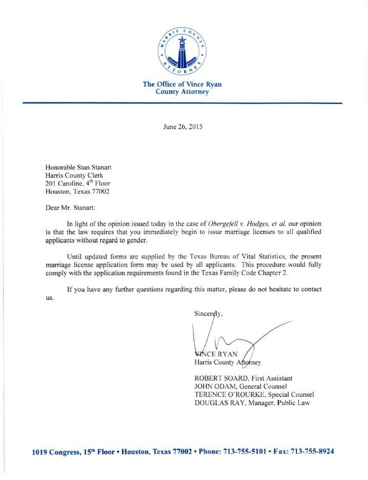 Letter to Harris County Clerk Concerning U.S. Supreme Court Opinion Obergefell v. Hodges, et al.