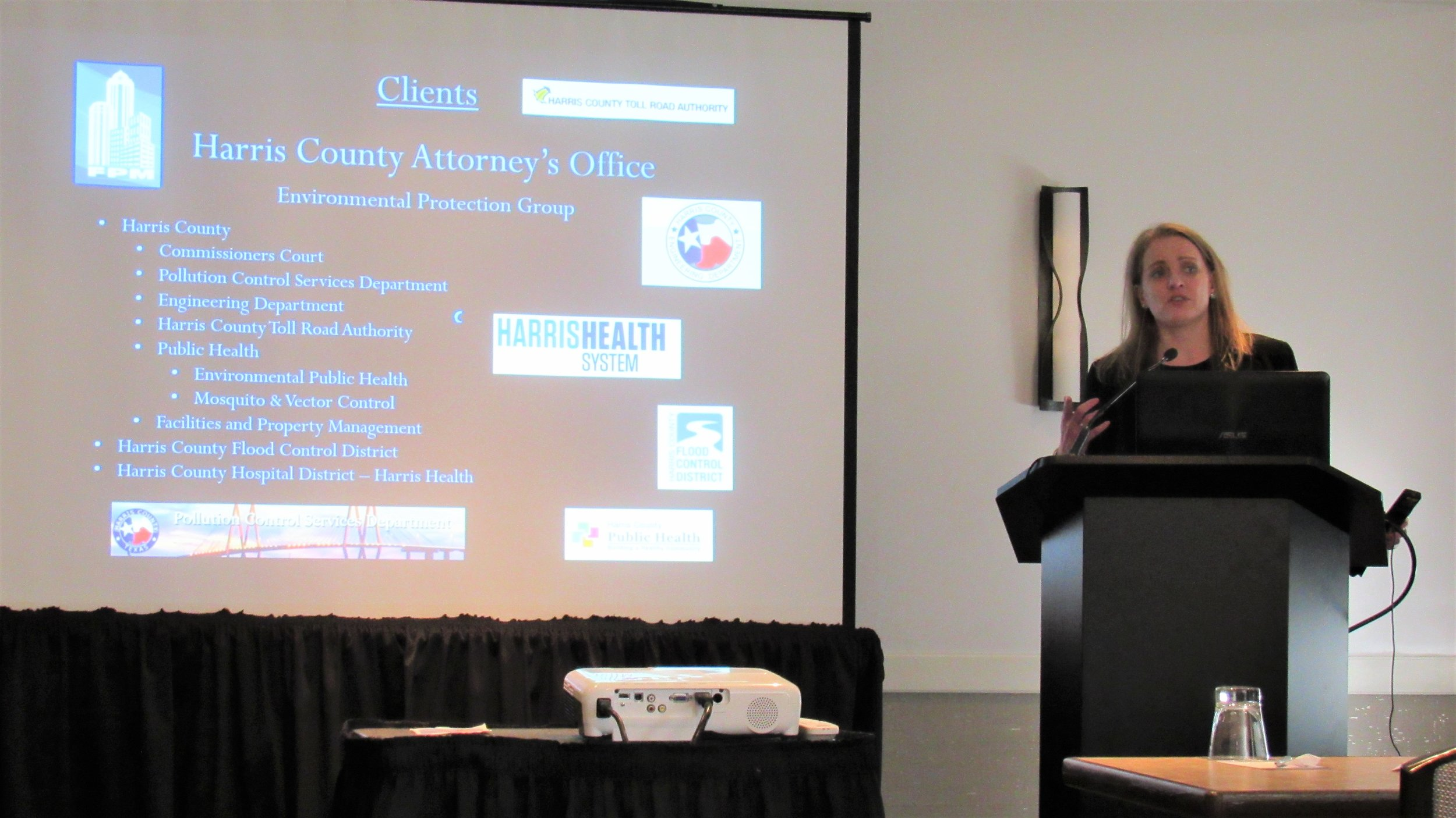 Harris County Attorney's Office Environmental Protection Group Managing Attorney Sarah Utley delivered a presentation at the Third Annual Public Interest Environmental Law conference on Friday Sept. 6, at the Magnolia Hotel in downtown Houston.