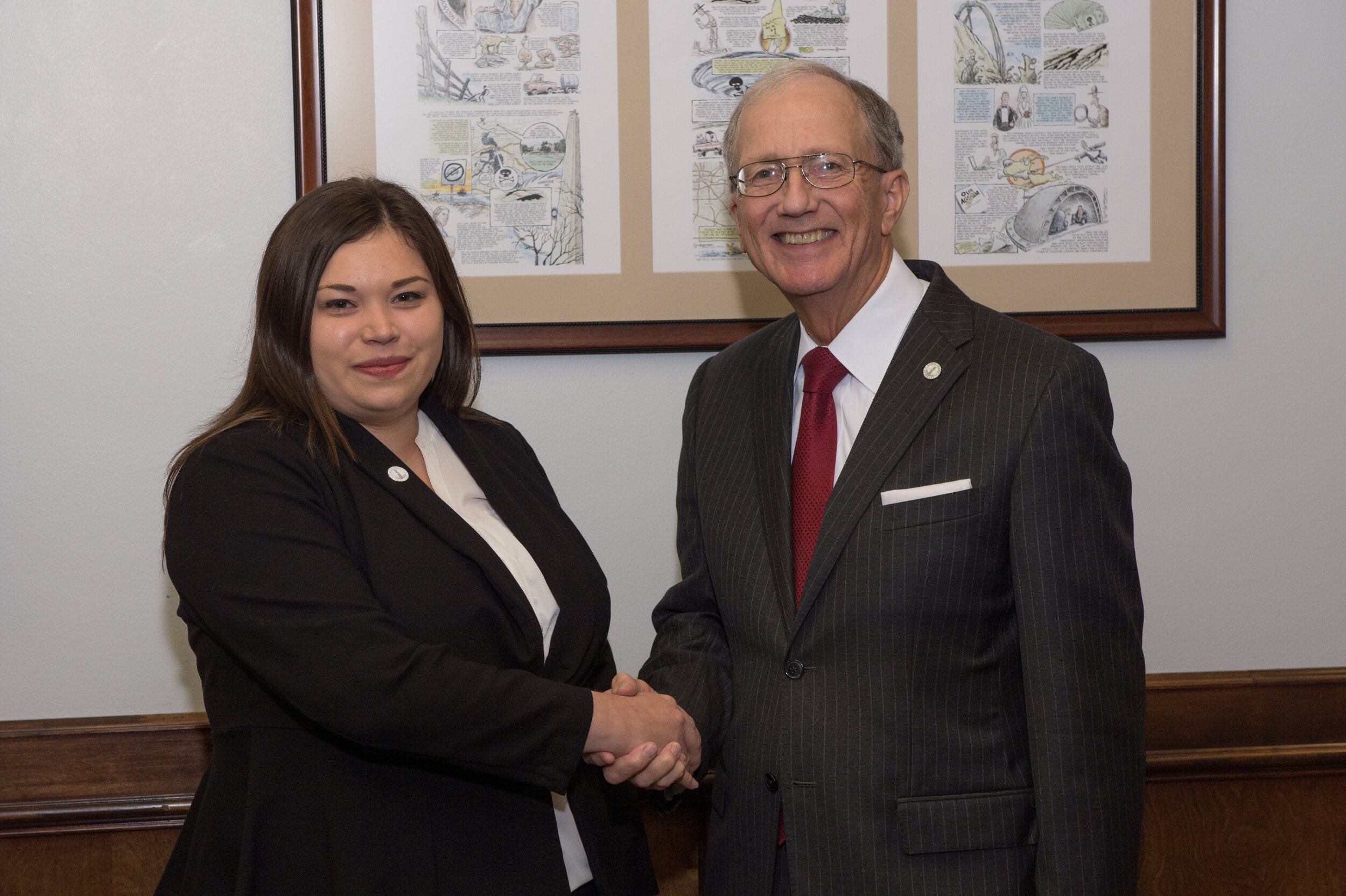 Assistant County Attorney Serenity Trevino with Harris County Attorney Vince Ryan after her swearing-in ceremony, Sept. 11.