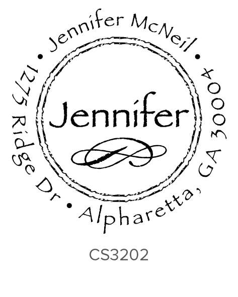 each self-inking stamp will be personalized in the exact font and style shown with the text size adjusted accordingly .