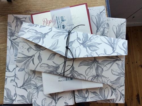Floral Patterned Pocket Invitation Suite