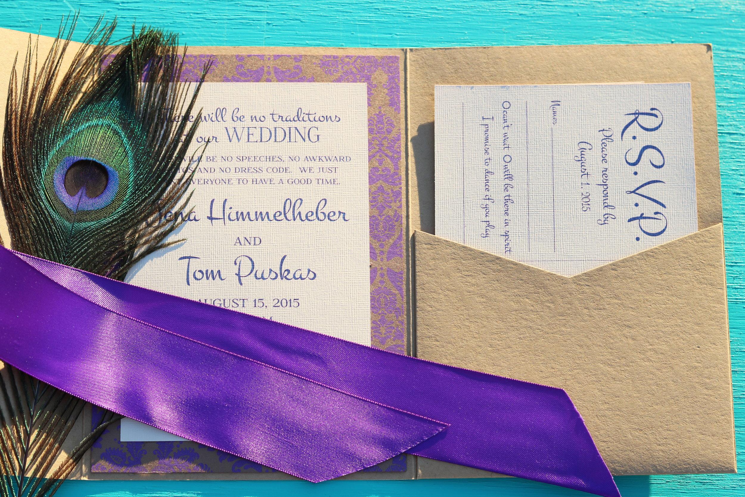 Kraft Peacock Pocket Invitation Suite