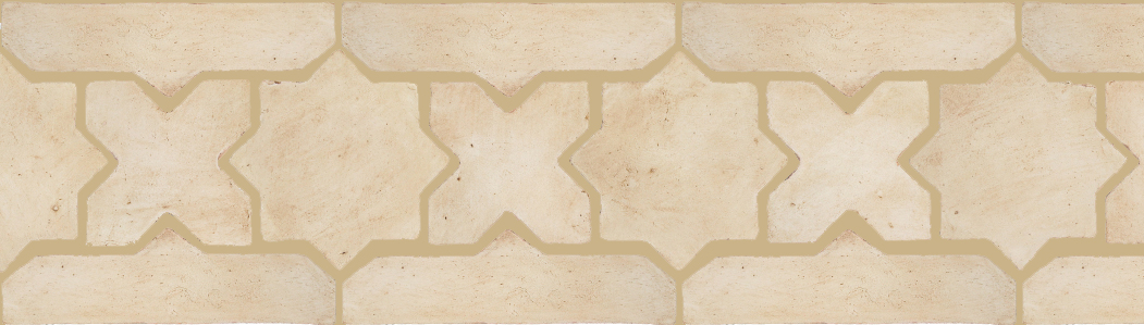 "Pedralbes Terracotta P&C:  BORDERS: STAR/CROSS + BORDER ""SC""  Pattern # PFB-211  Option: OHS-PGAW + OHS-PGAW"