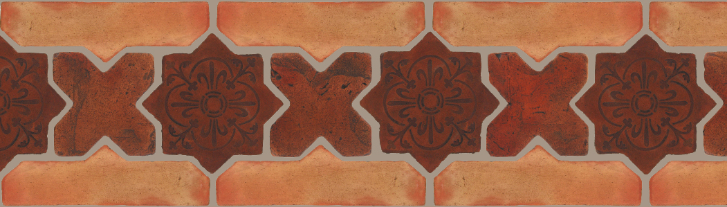 "Pedralbes Terracotta P&C:  BORDERS: STAR/CROSS + BORDER ""SC"": With DECORATIVE Designs  Pattern # PFB-240  Option: STAR-EE-20-PSOW+CROSS-PSOW + OHS-PSTR"
