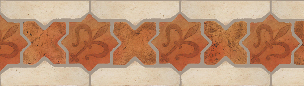 "Pedralbes Terracotta P&C:  BORDERS: STAR/CROSS + BORDER ""SC"": With DECORATIVE Designs  Pattern # PFB-241  Option: STAR-EE-32-PSTR+CROSS-PSTR + OHS-PGAW"