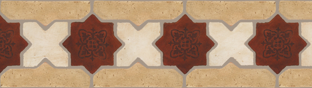 "Pedralbes Terracotta P&C:  BORDERS: STAR/CROSS + BORDER ""SC"": With DECORATIVE Designs  Pattern # PFB-243  Option: STAR-EE-58-PSOW+CROSS-PGAW + VTG-PGGW"