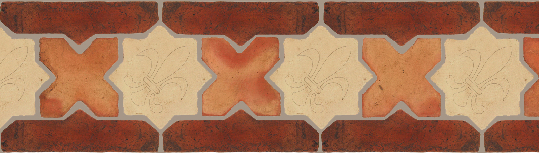 "Pedralbes Terracotta P&C:  BORDERS: STAR/CROSS + BORDER ""SC"": With DECORATIVE Designs  Pattern # PFB-247  Option: STAR-EE-380-PGGW+CROSS-PSTR + VTG-PSOW"