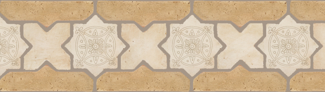 "PedralbesTerracotta P&C: BORDERS: STAR/CROSS+BORDER ""SC"":With DECORATIVE Designs  Pattern#PFB-248  Option:STAR-EE-330-PGAW+CROSS-PGAW+ VTG-PGGW"
