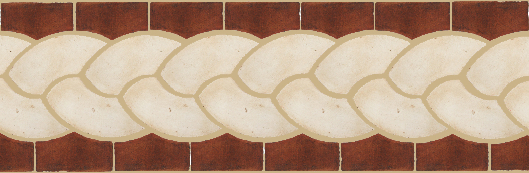 "Pedralbes Terracotta P&C:  BORDERS: ROPE (L+R) + ROPE BORDER ""R""  Pattern # PFB-116  Option: OHS-PGAW + OHS-PSOW"
