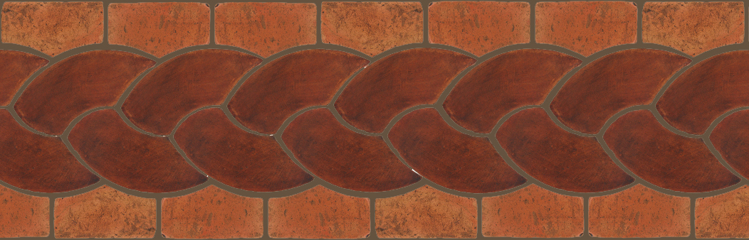 "Pedralbes Terracotta P&C:  BORDERS: ROPE (L+R) + ROPE BORDER ""R""  Pattern # PFB-120  Option: OHS-PSOW + VTG-PSTR"