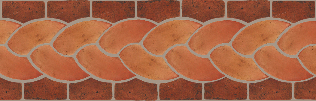 "Pedralbes Terracotta P&C:  BORDERS: ROPE (L+R) + ROPE BORDER ""R""  Pattern # PFB-120  Option: OHS-PSTR + VTG-PSOW"