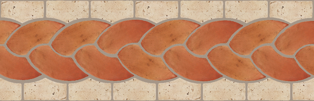 "Pedralbes Terracotta P&C:  BORDERS: ROPE (L+R) + ROPE BORDER ""R""  Pattern # PFB-121  Option: OHS-PSTR + VTG-PGAW"