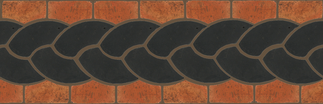 "Pedralbes Terracotta P&C:  BORDERS: ROPE (L+R) + ROPE BORDER ""R""  Pattern # PFB-122  Option: OHS-PGCB + VTG-PSTR"