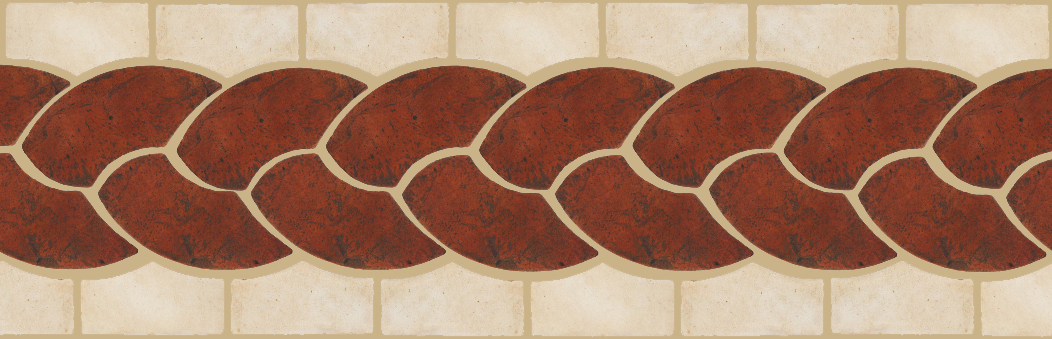 "Pedralbes Terracotta P&C:  BORDERS: ROPE (L+R) + ROPE BORDER ""R""  Pattern # PFB-126  Option: VTG-PSOW + OHS-PGAW"