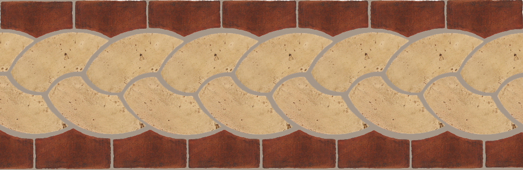 "Pedralbes Terracotta P&C:  BORDERS: ROPE (L+R) + ROPE BORDER ""R""  Pattern # PFB-127  Option: VTG-PGGW + OHS-PSOW"
