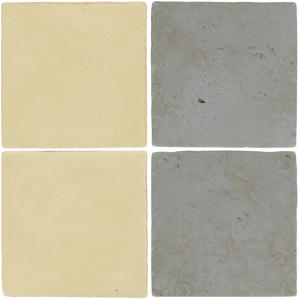 Pedralbes Antique Terracotta  2 Color Combinations  OHS-PGPW Pergamino White + VTG-PGOG Oyster Grey