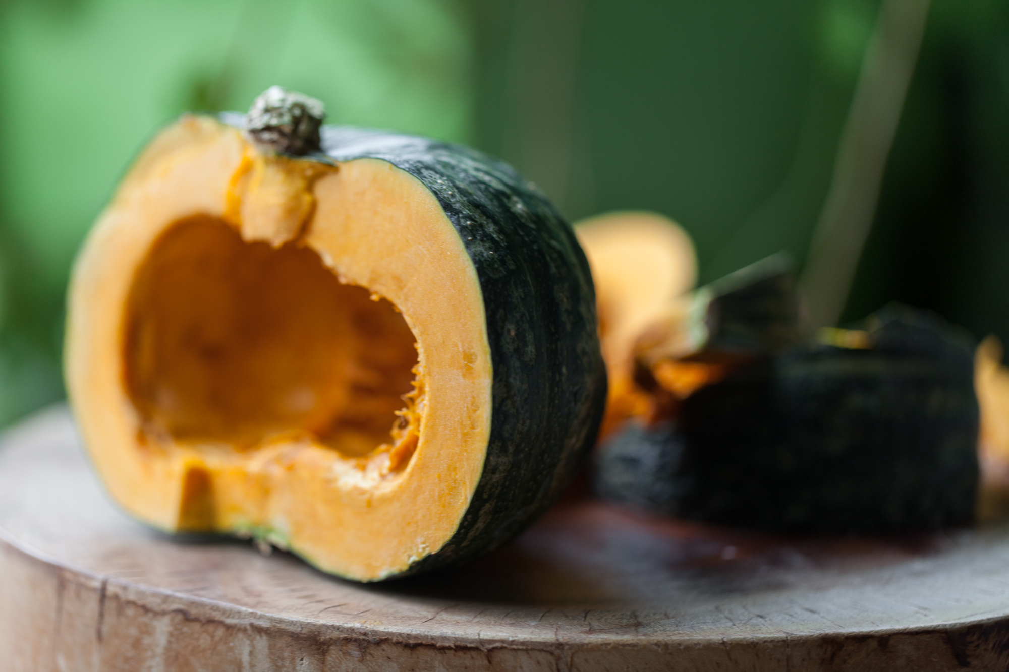 Kabocha squash or Japanese pumpkin ( Cucurbita maxima ) is a winter squash variety that has started to become quite popular in farmers markets and some supermarket chains. Though the skin, which is thick and knobby, doesn't look remotely edible, it actually is and provides a significant amount of fiber. The inside flesh is sweet—a sort of cross between a pumpkin and sweet potato. You can let a kabocha get quite large, which makes it look intimidating, but once you get a knife through it, it's easy to prepare!