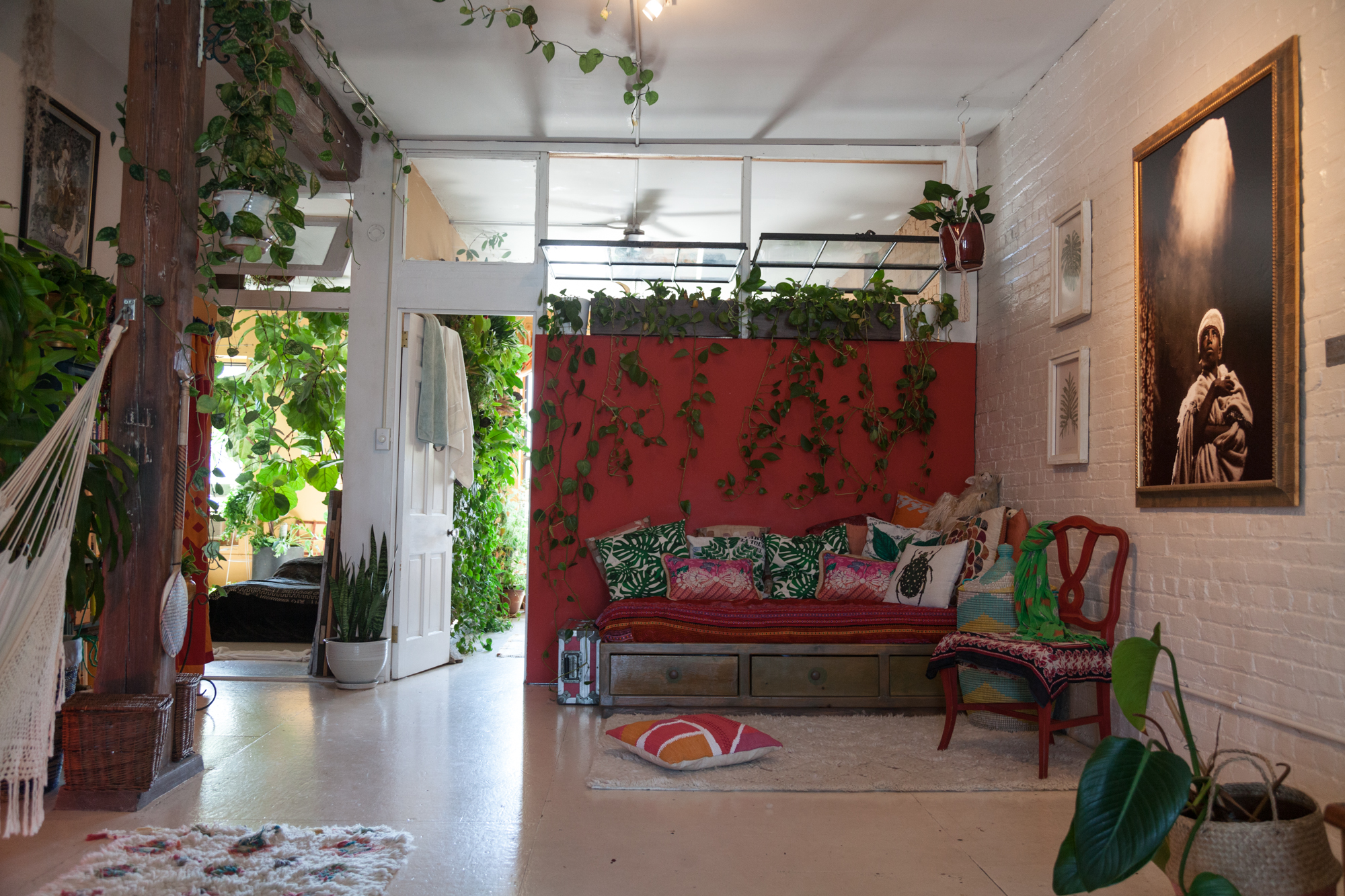 """Can you find the snake plant in this picture? I initially had a  Ficus  sitting between the doorways to the two bedrooms, but it's large lobe-like leaves got in the way of passerbys. The solution? Get an upright growers like  Sansevieria trifasciata """" Robusta""""."""