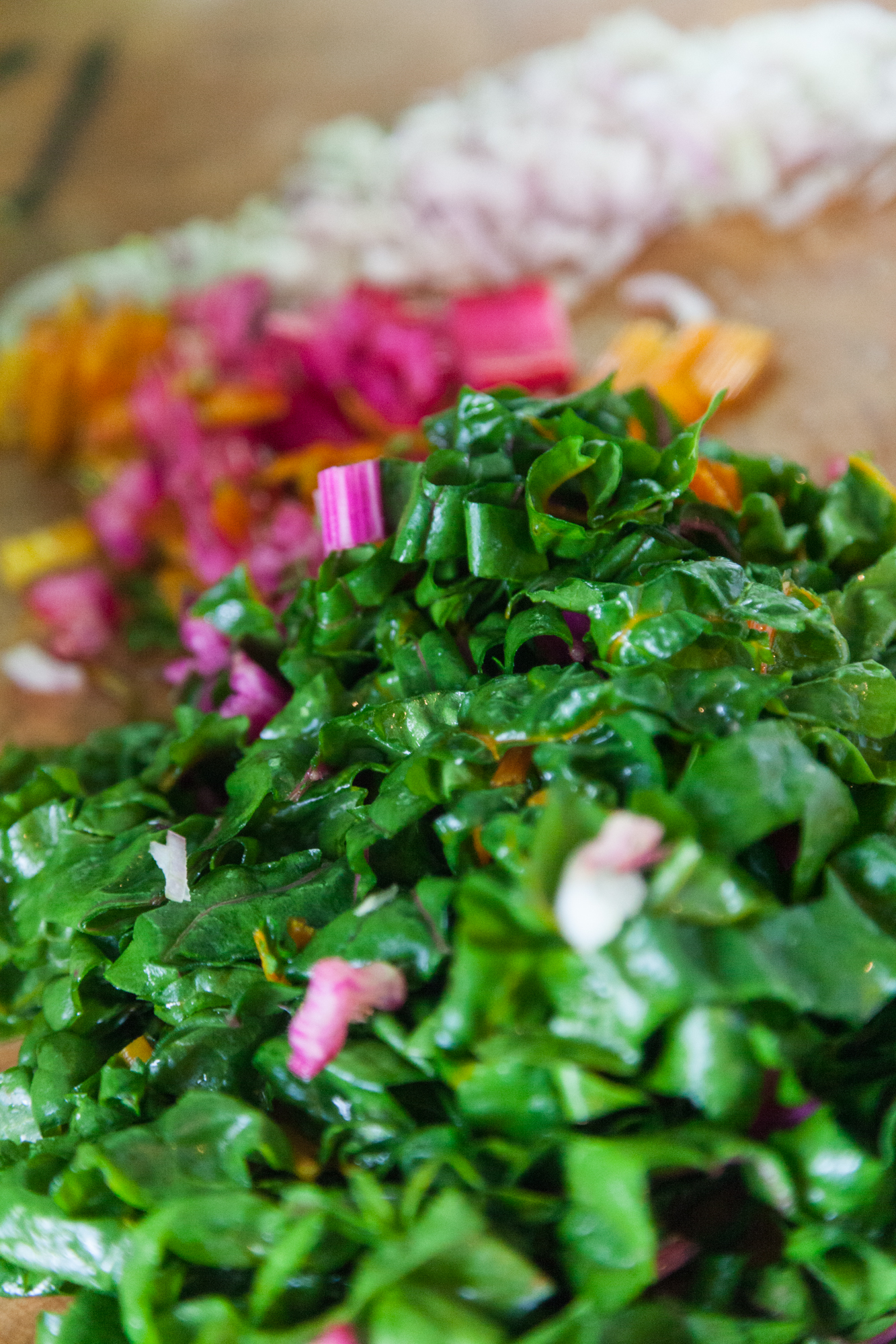 Chop up your shallots and your Swiss chard. This will be sautéed and added to your grains.