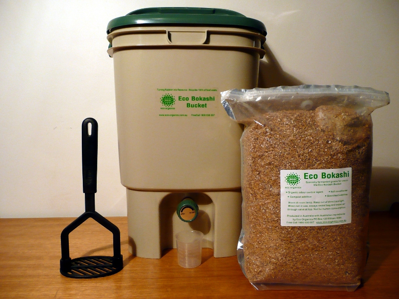 This is an entire bokashi kit, but instead of a container with a spigot, you can also just do a regular 5-gallon bucket and siphon off the bokashi juice as you go.