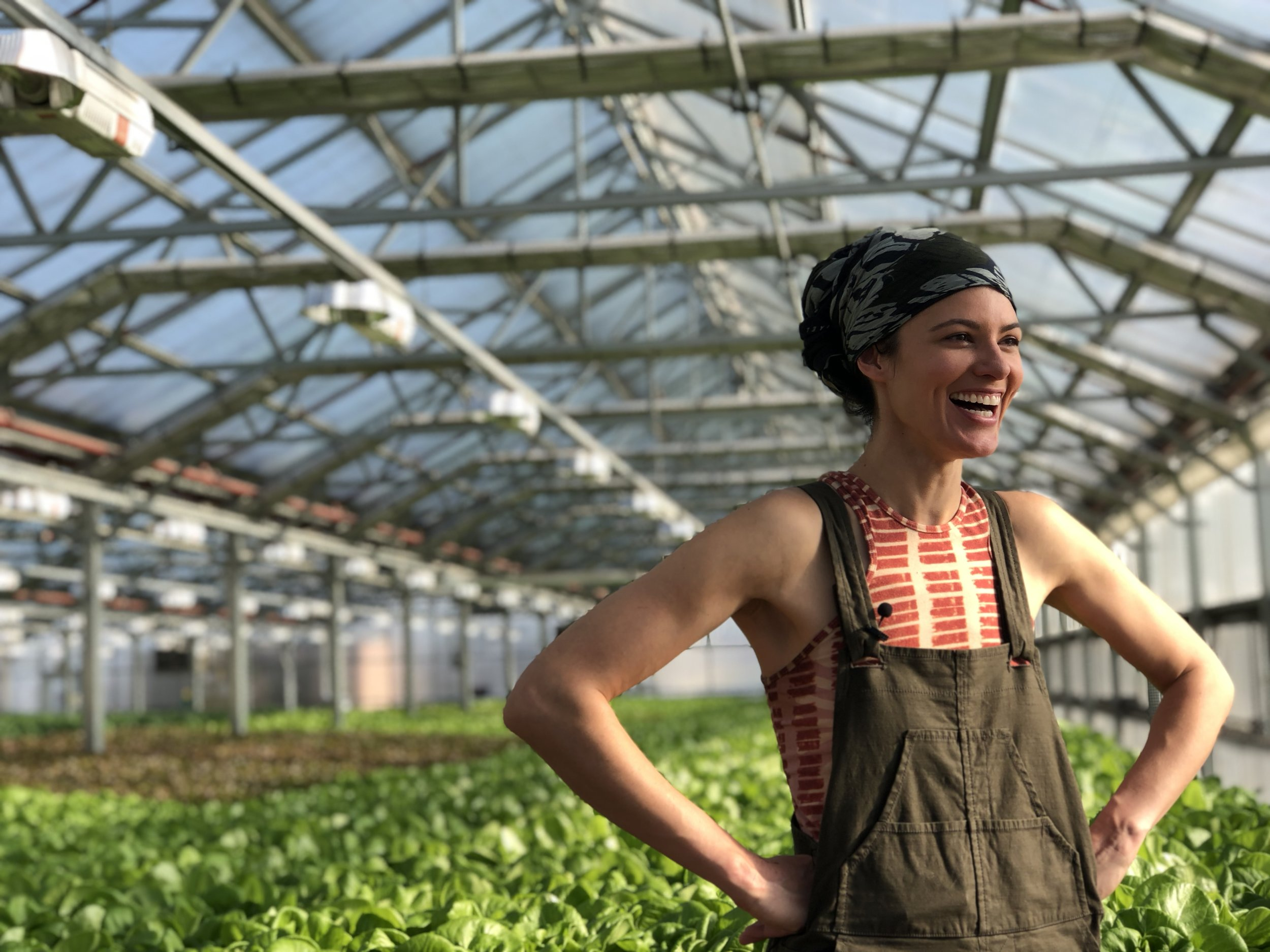 Laughing out loud in Gotham Greens' original greenhouse location in Greenpoint, Brooklyn.