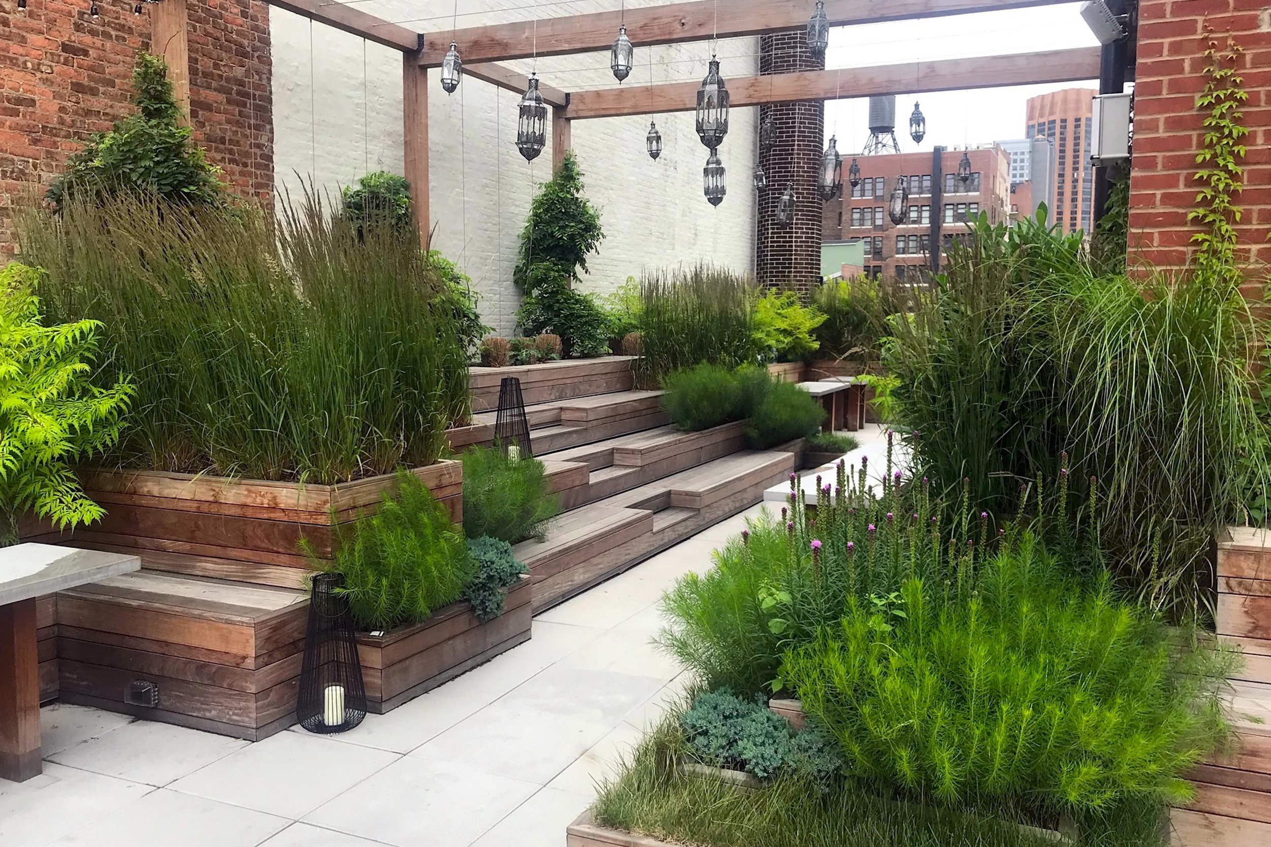 Valerio was able to expand his grandfather's business into the commercial sector. Here is a photo from the Assemblage in NYC. Photo: Morano Landscape & Garden Design