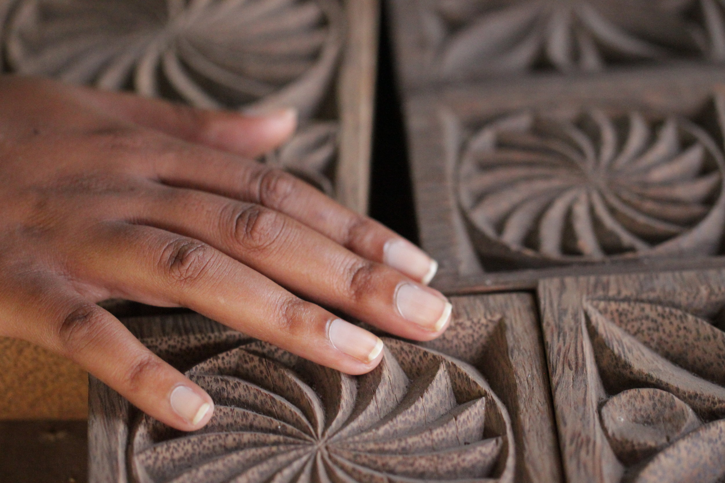 The intricate inlay work done by highly skilled artisans at the Mezimbite Forest Centre.
