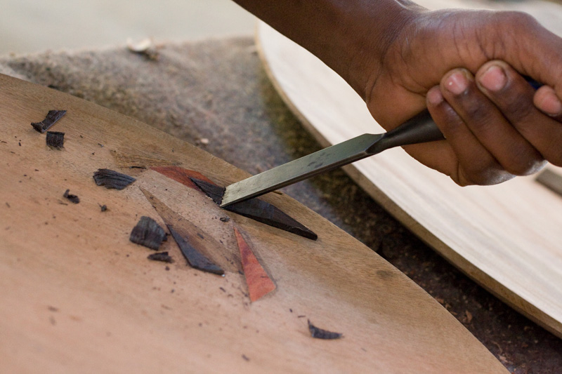 "Doing inlay in a ""Sofala Plate"", which takes anywhere from 6-9 months to make."