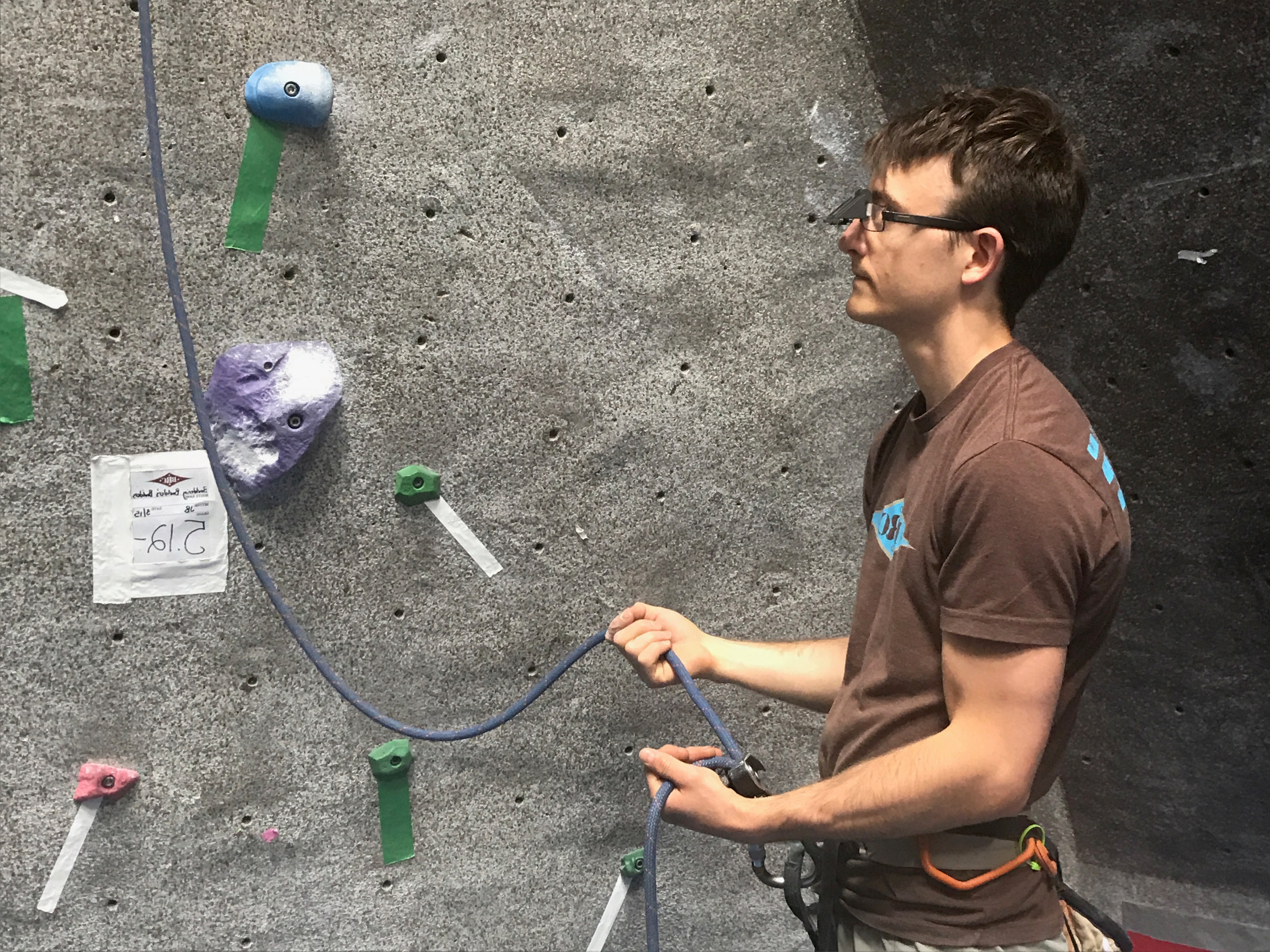 Problem solved!  Our clip-on belay glasses allow you to see the climber while looking straight ahead