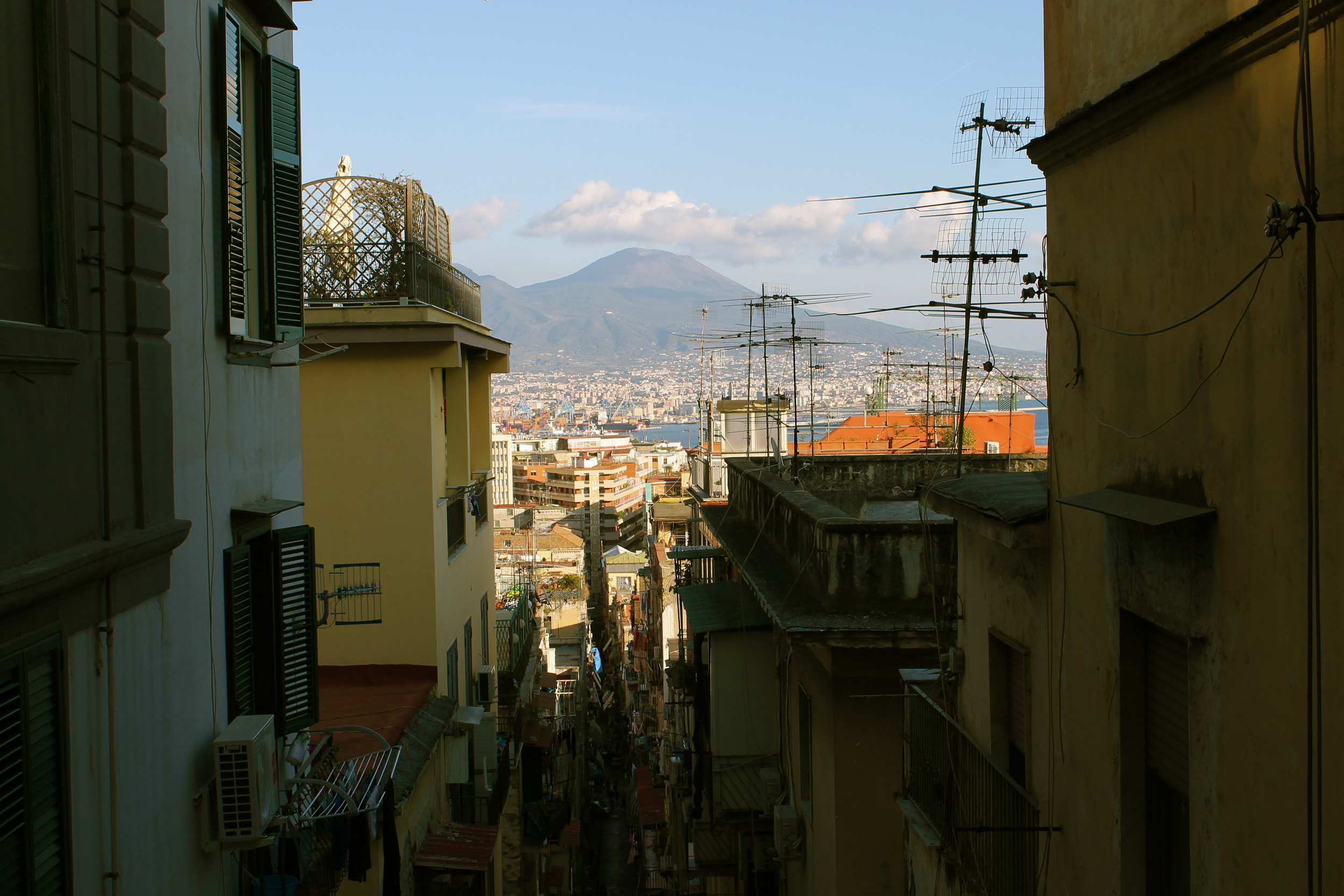 Here's Vesuvius from the city of Naples (for perspective).