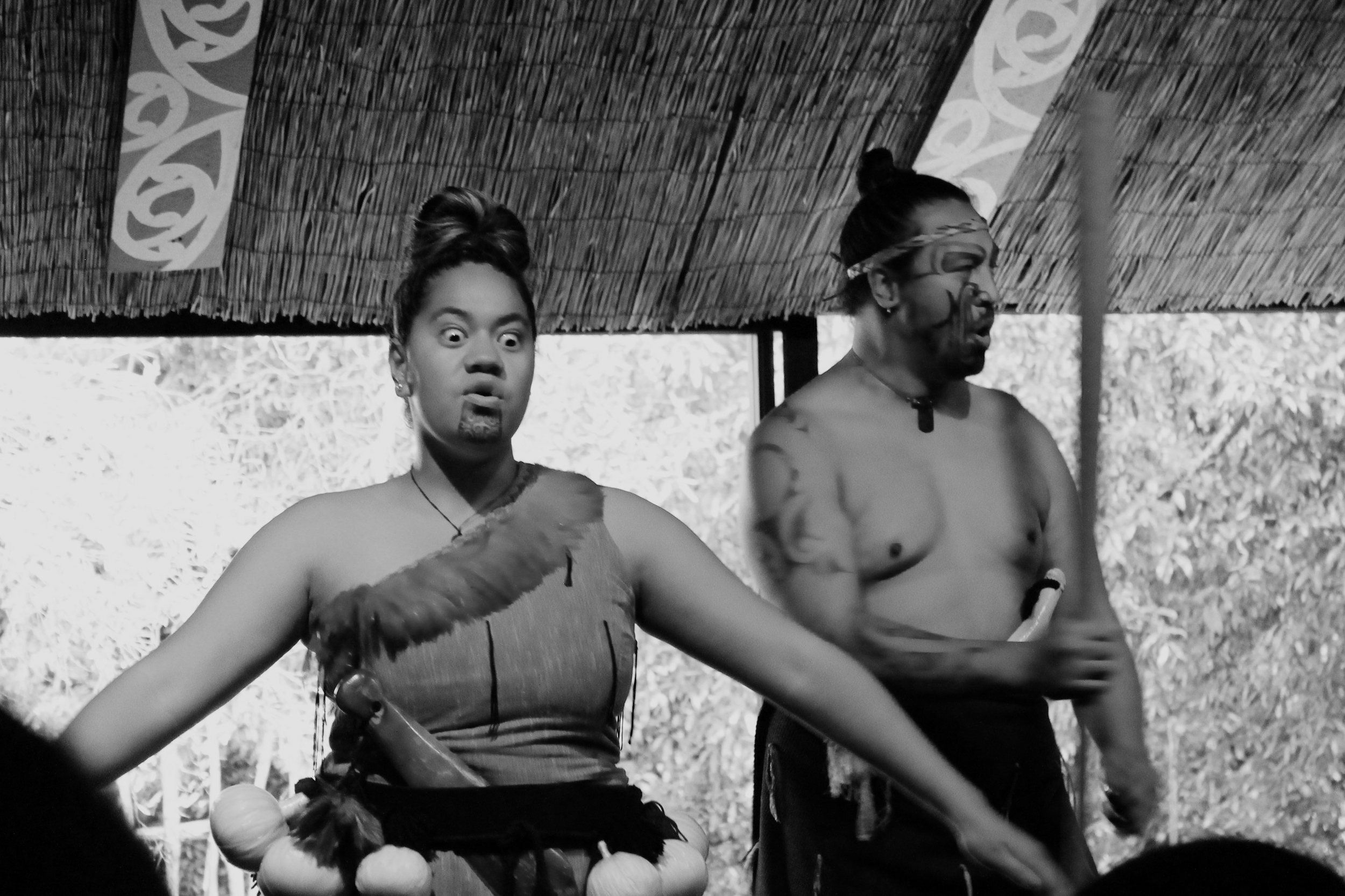 When doing theHaka warrior dance, you make your eyes wide,stick out your tongue and yell to intimidate others. I plan to use this method if I find myself corneredin a dark alley way or on a bad date.