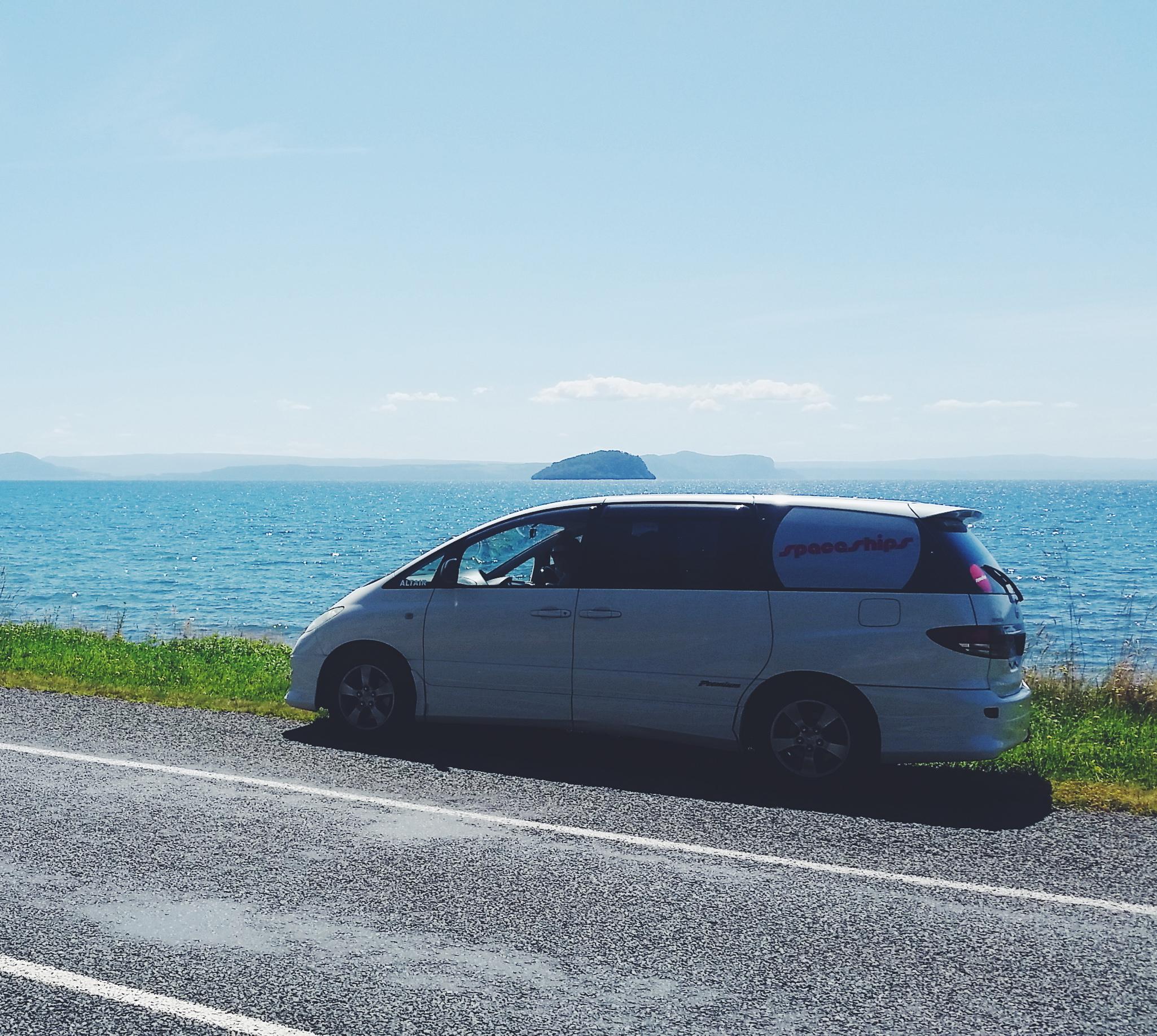 Parked on Lake Taupo.