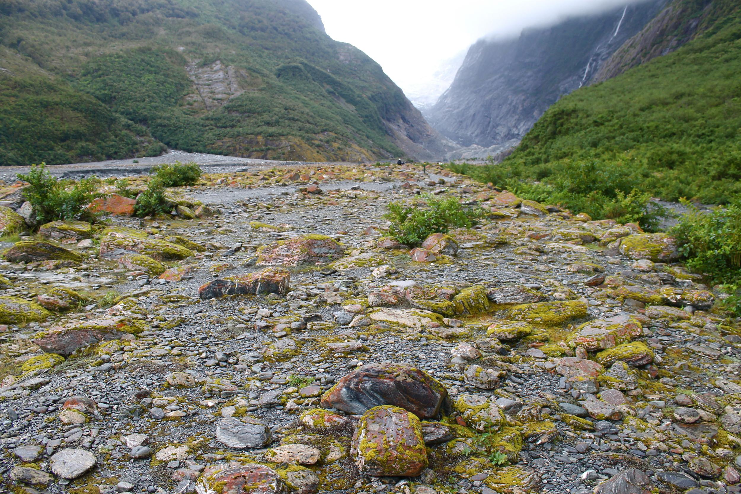 The rocky valley leading up the glacier had a Jackson Pollock-y look to it.
