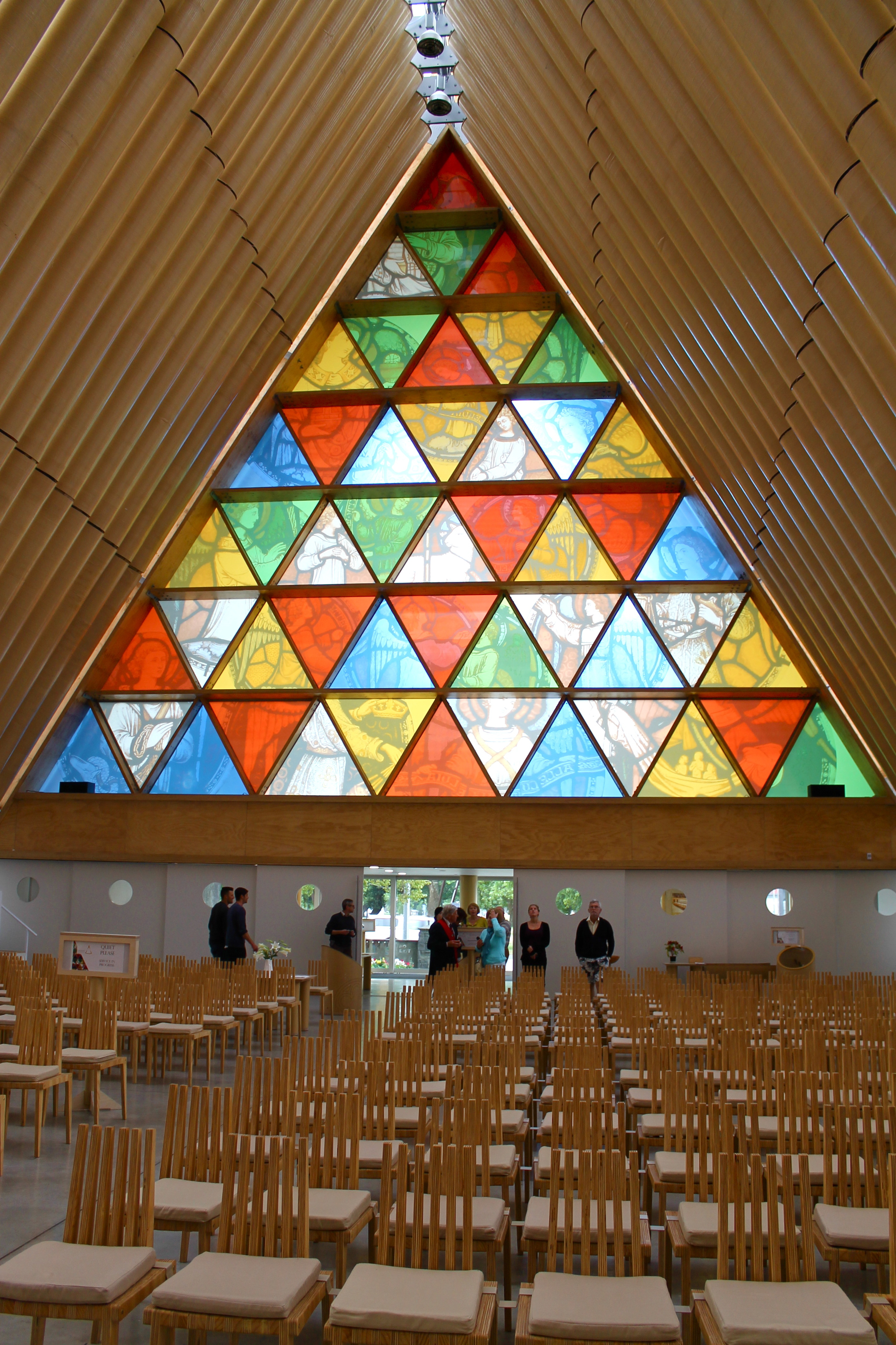 After St John the Baptist Church was demolished after the earthquake, Japanese artist  Shigeru Ban  designed the transitional  Cardboard Cathedral .
