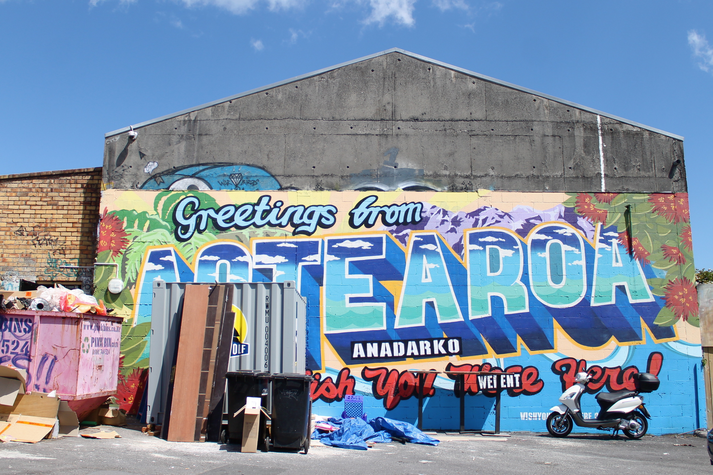 """Aotearoa = Maori word for """"New Zealand"""". Literally meaning, """"land of the long white cloud"""" because of the shape of the 2 islands. Bit of a mixed message from this graffiti..."""