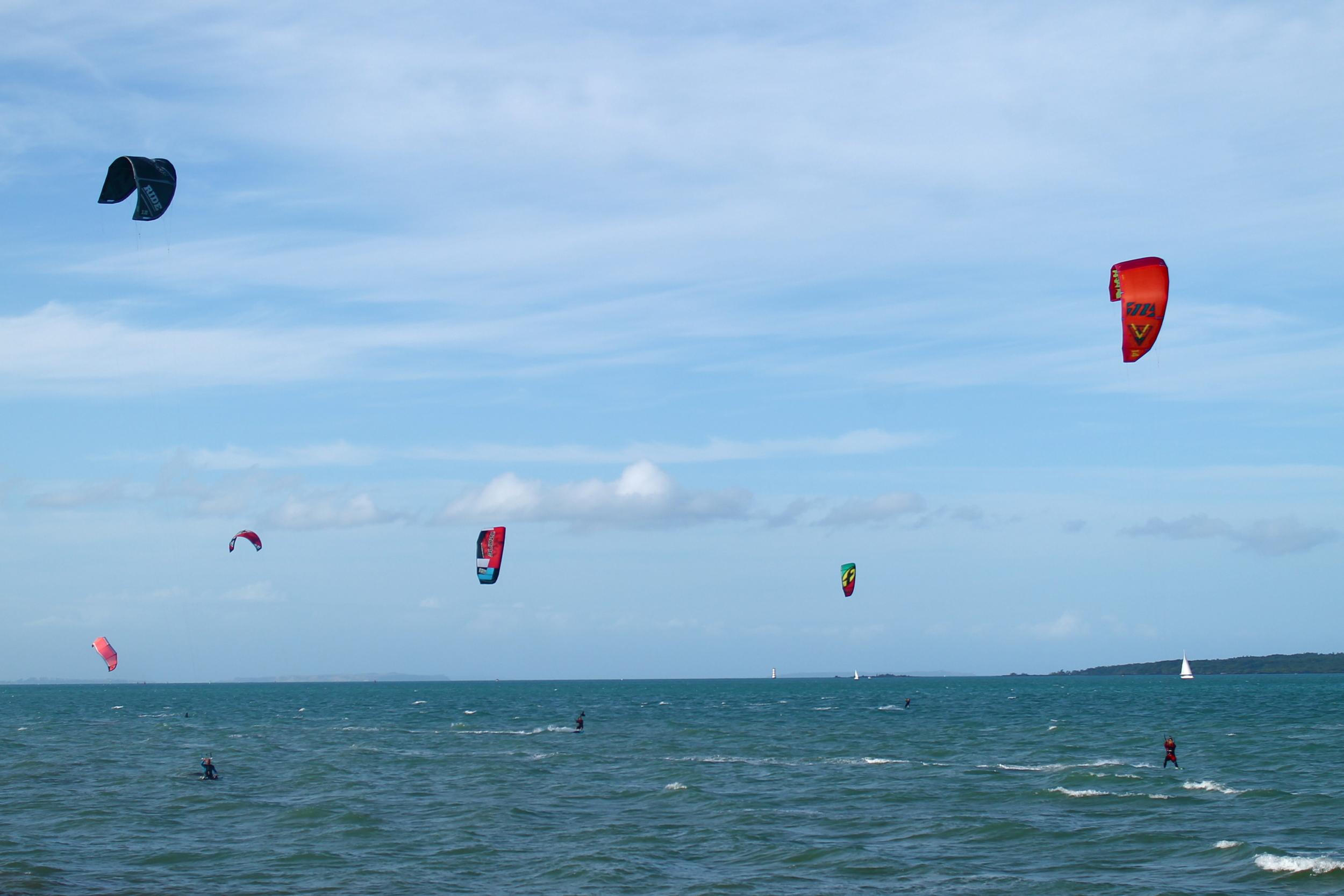 Kite surfers in Devonport.