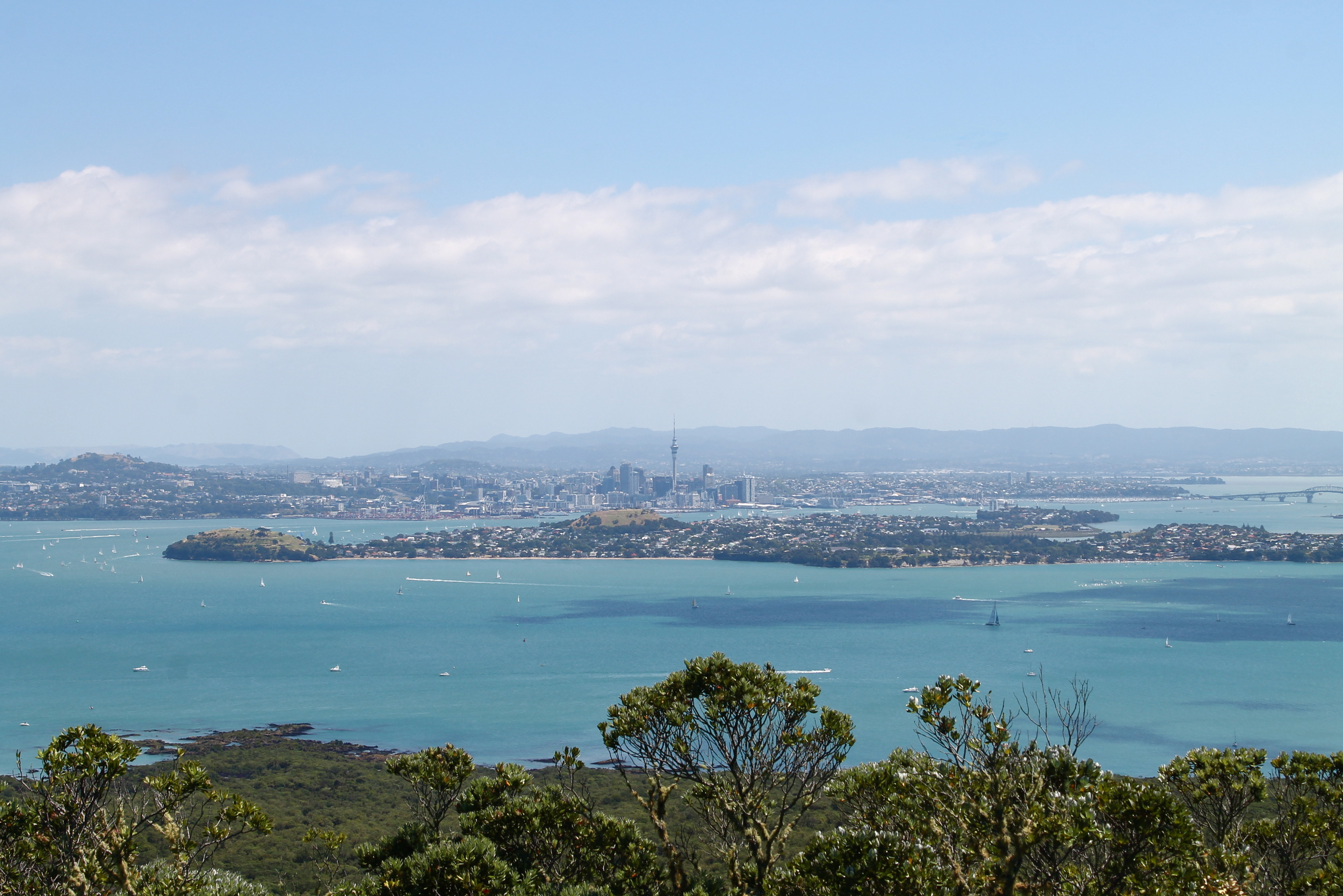 Downtown Auckland (and Devonport in front) from Rangitoto.