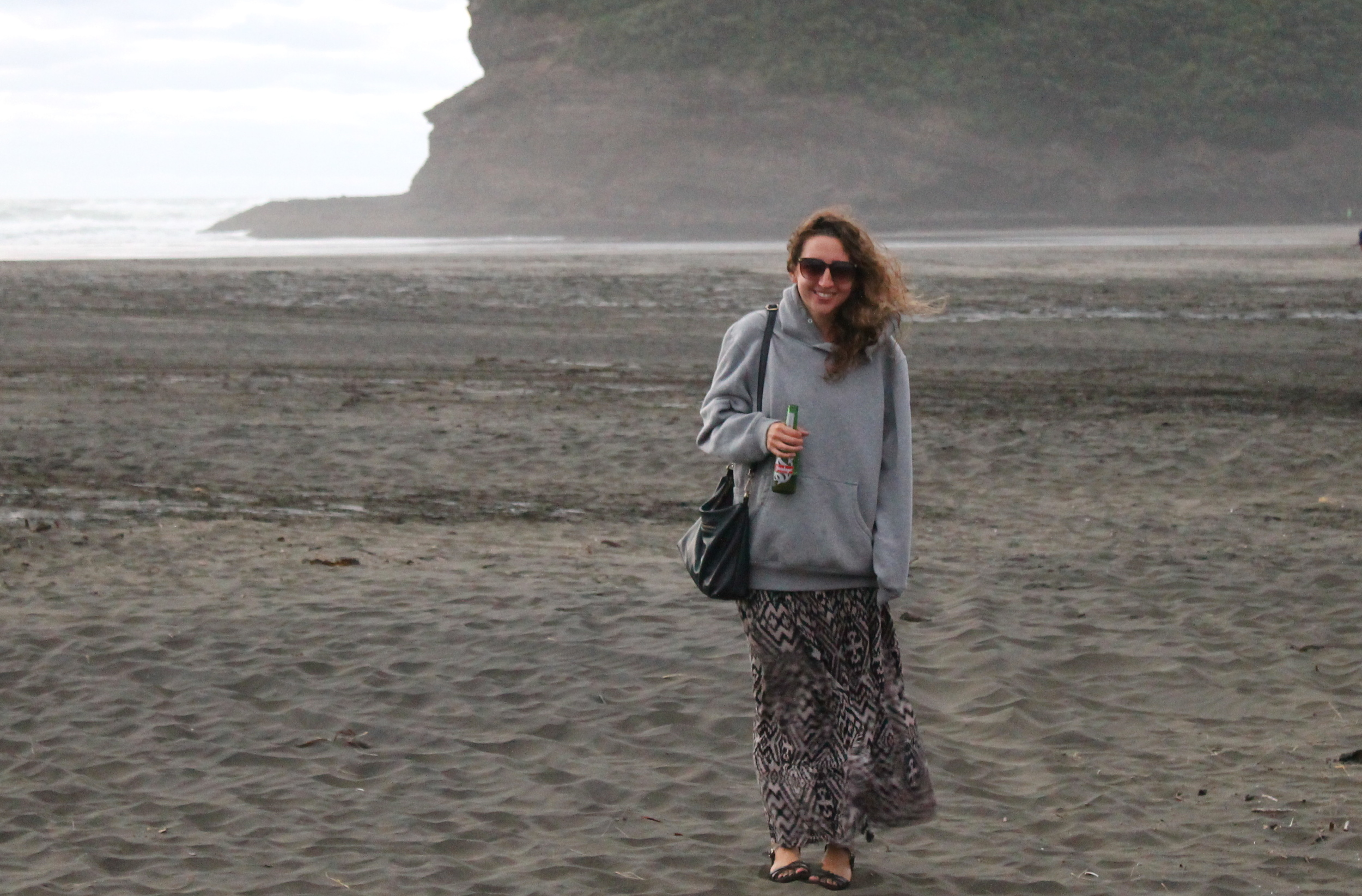 Windy day at Bethells Beach.