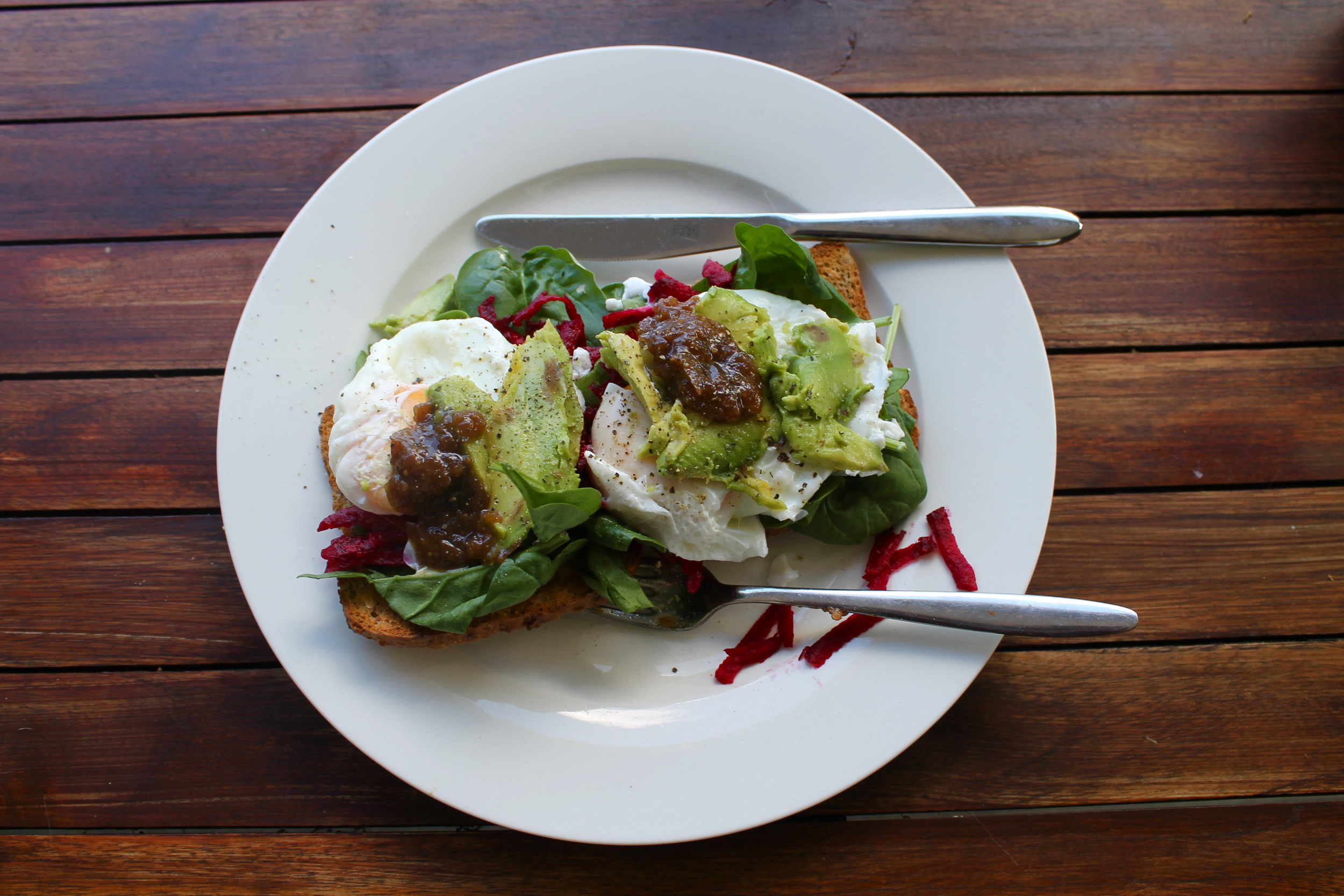 Homemade poached eggs with beet root and chutney (very New Zealand)