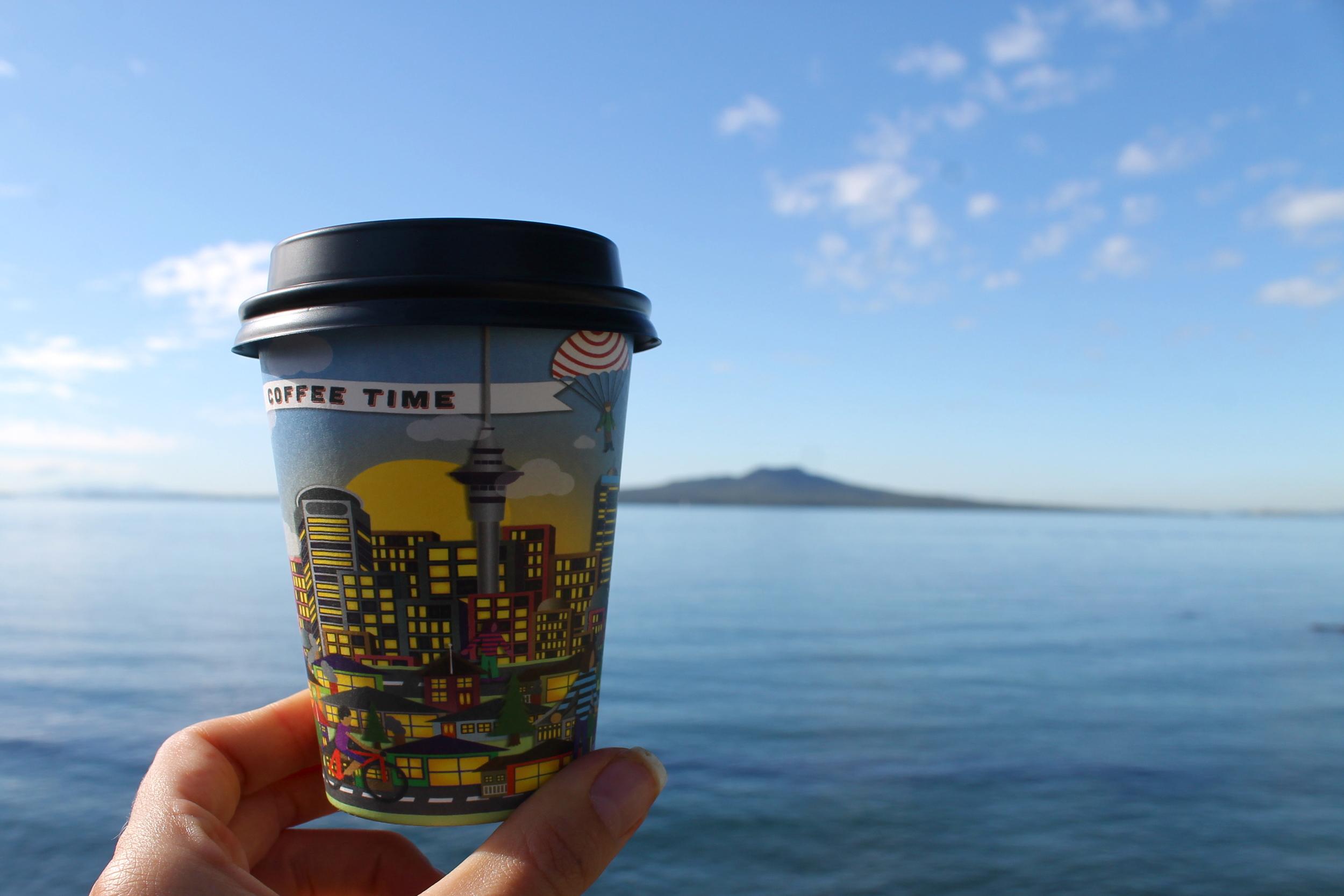 Double espresso + Rangitoto from Takapuna.