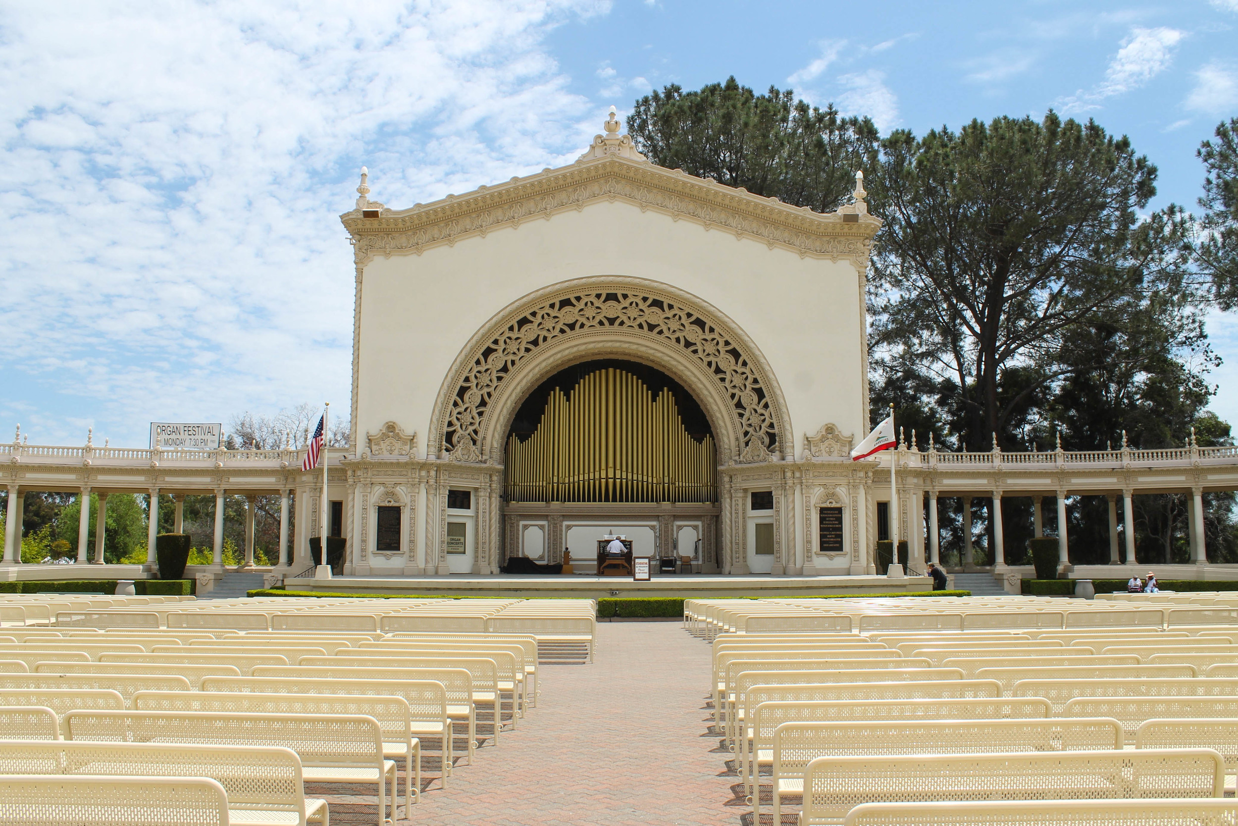 Giant organ practice in Balboa Park.