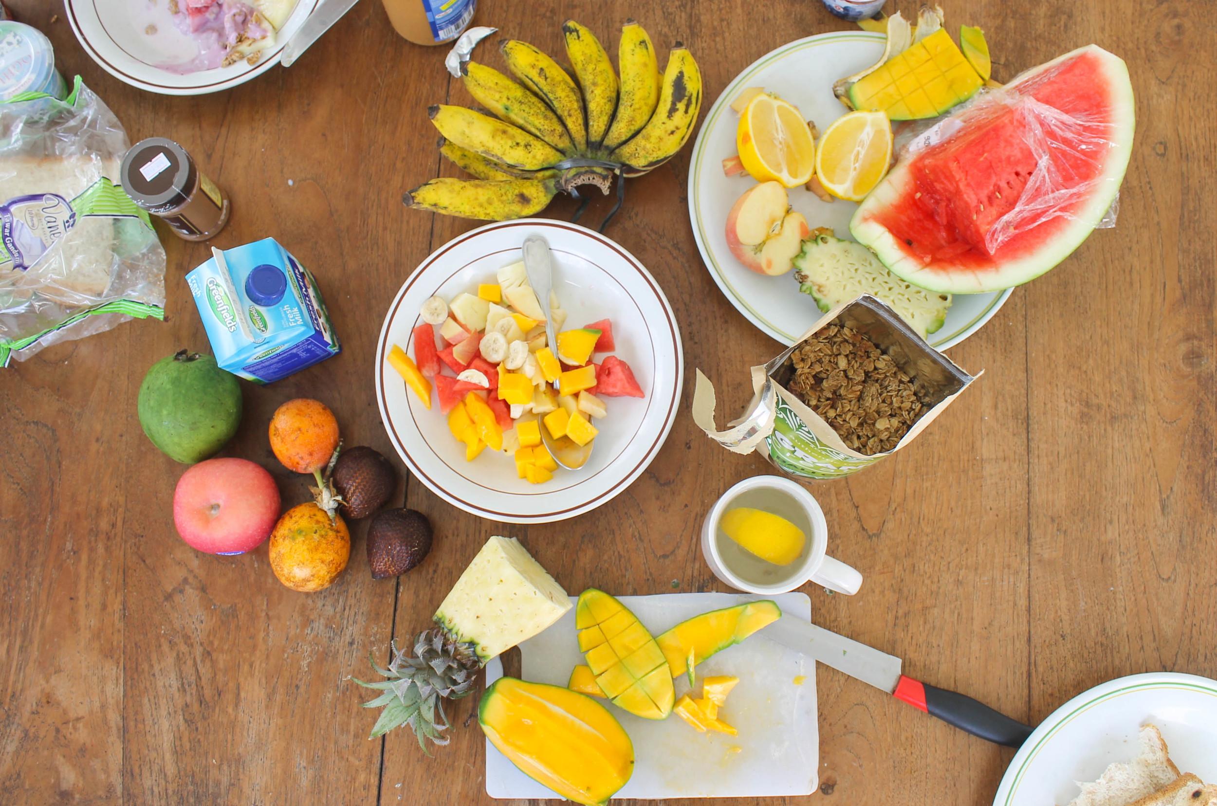 Canggu's fruit shops began a morning tradition of giant bowls of fresh fruit, muesli and yogurt.