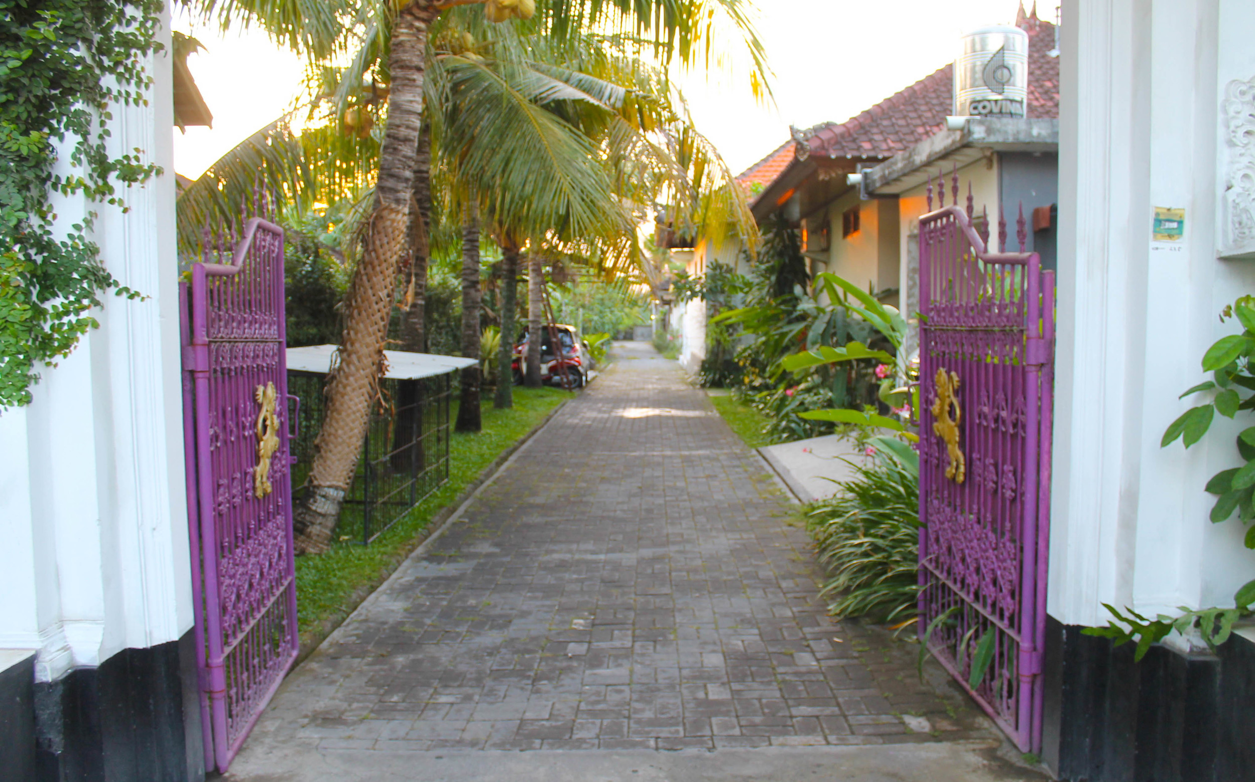 Purple gated entrance which has ruined me because now I want all of my future homes to have purple gated entrances.