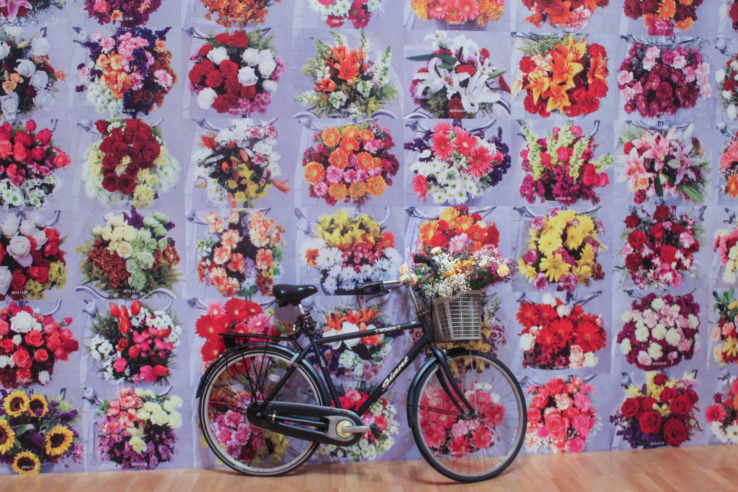 Every morning, for 600 days, Weiwei put a bouquet of flowers in the basket of the bicycle that is outside his studio as a daily demonstration against the Chinese governments confiscation of his passport. He documented each day on his  Flickr.