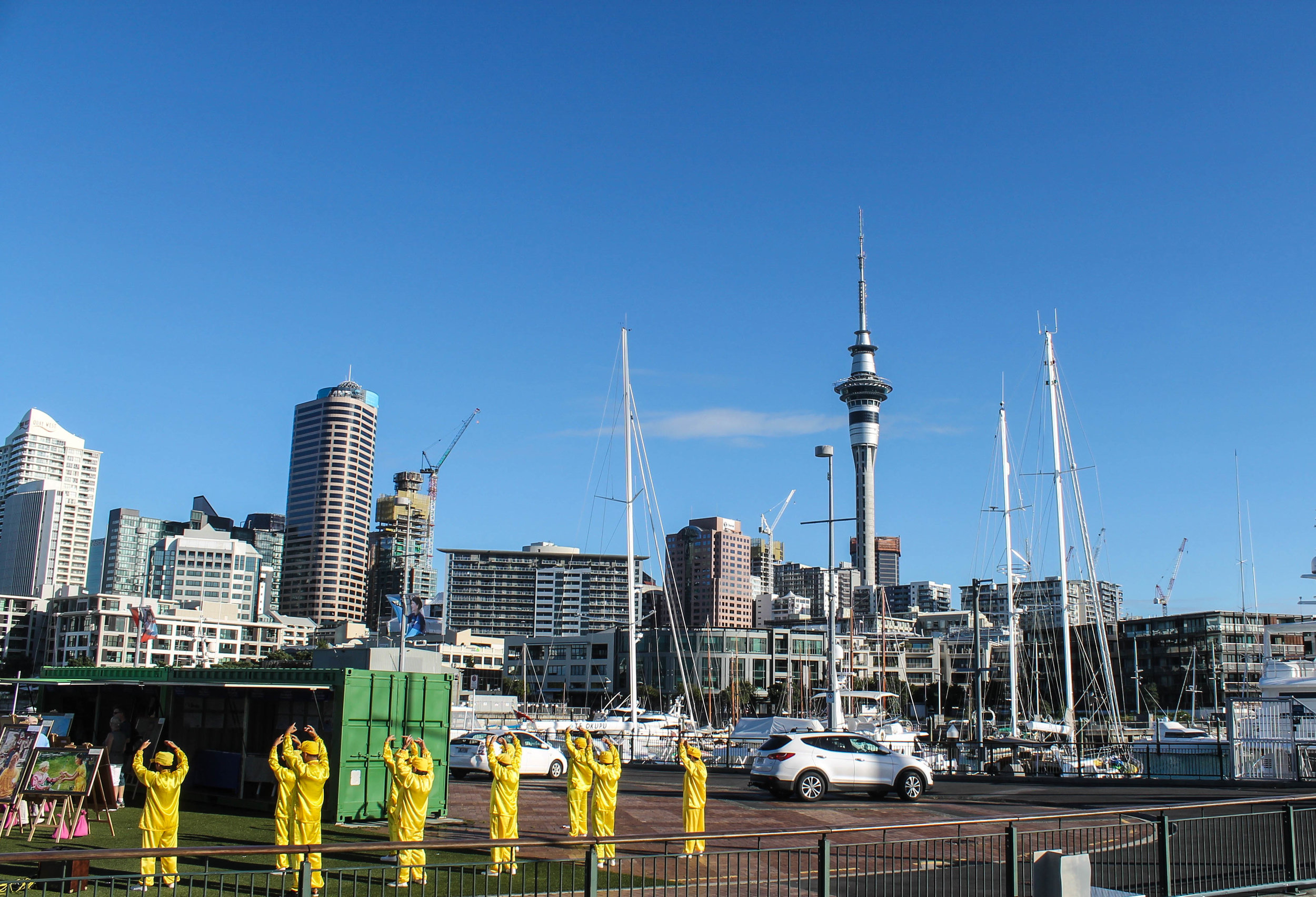 Some Tai Chi and the Auckland skyline.