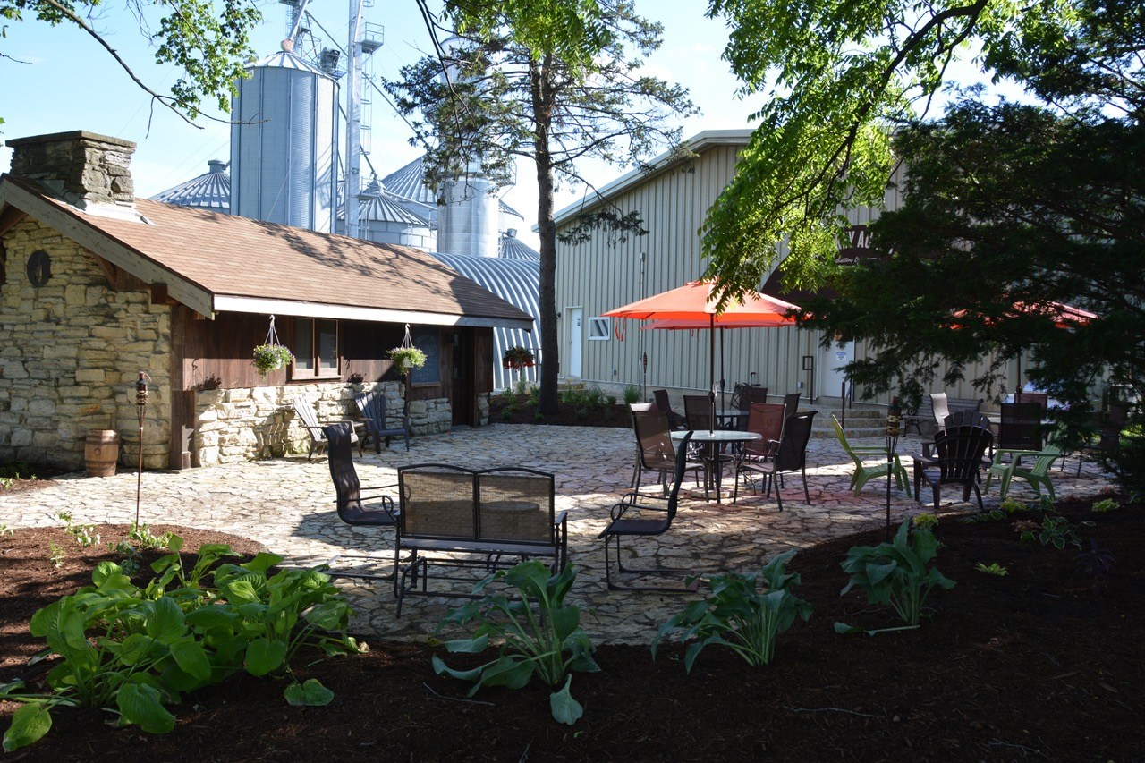 Our historic tasting room and cocktail patio.