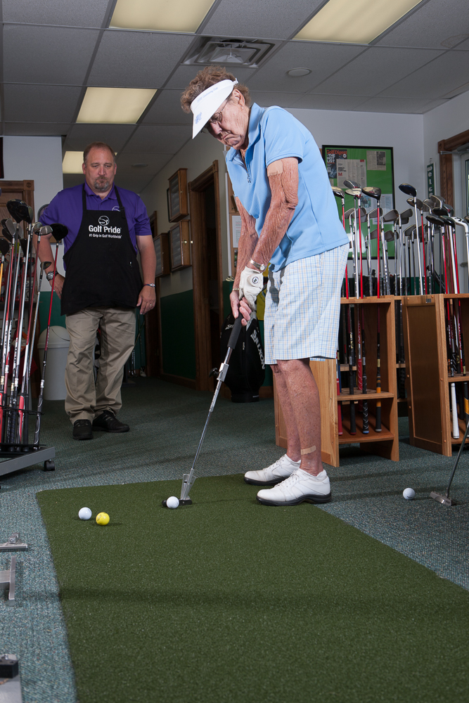 The putter fitting made an immediate impact. She took the putter home and the next day shot her age again.