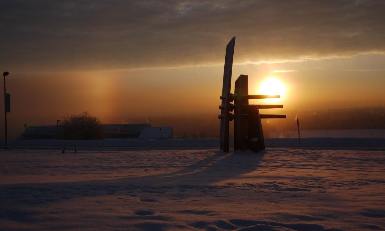 Winter solstice sunset in Fairbanks, Alaska.