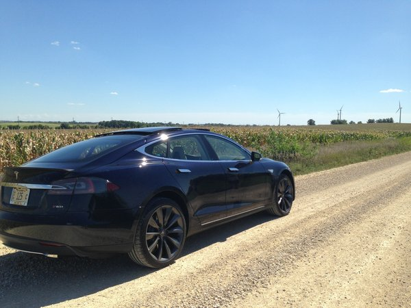 Tesla Model S gravel road